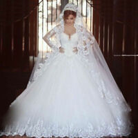 Stock white ivory A-Line lace Wedding Dress Bridal Gown size 6 8 10 12 14 16 18