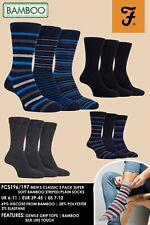 Farah - 3 Pack Quality Blue & Grey Striped Mens Bamboo Crew Dress Socks