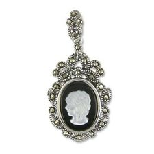 925 Silver Cameo with mercasite pendant