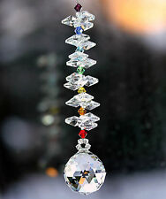 m/w 30mm Swarovski Crystal Ball + Octagons + Chakra Beaded Strand Sun Catcher