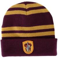 Harry Potter Gryffindor Logo Stripes Knit Beanie Hat Cap Deathly Hallows Gift L1