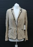 GOLD HAWK Ladies Camel Brown Silk Single Breasted One Button Piping Jacket S NEW