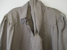 Vintage Louis Feraud Top 12 Gray Beige Black Checked Button Up Blouse w/Sash Tie