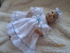 "HANDMADE CLOTHES FOR BABY 3-5mths /REBORN / doll 22"" White broderie/Blue  New"