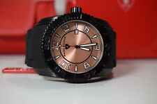 Swiss Legend Men's Commander Rose Dial Black Rubber Watch Ion Plated 20068-BB-09