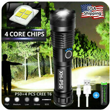 Super-Bright 90000LM LED Tactical Flashlight Torch With Rechargeable Battery