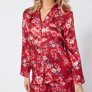 EX STORE Ladies Womens Satin Silk Floral Oriental Boyfriend Pyjama Top Size 14