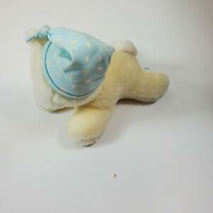 Eden Musical Wind-Up Baby Toy Cat Kitten Sleeping Hat cap Head Moves off white