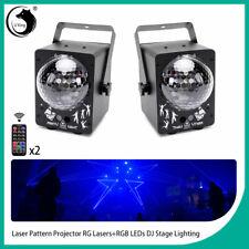 2PCS LED RGB Laser Projector Stage Lights Xmas Party DJ Disco KTV show+Remote