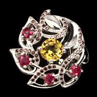 Round Citrine Rhodolite Garnet Ruby White Gold Plate 925 Sterling Silver Ring 7