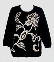WOMEN'S ALFRED DUNNER BLACK EMBELLISHED FLORAL 3/4 SLEEVE SWEATER TOP SIZE S