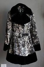 VINTAGE 60's MOD BLACK FUR TRIM DRESS COAT ANIMAL PRINT SNOW LEOPARD BELTED L-XL