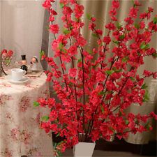 Artificial Fake Cherry Spring Plum Peach Blossom Branch Home Garden Decor Red