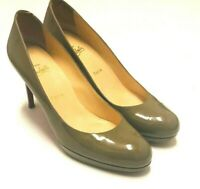 Christian Louboutin Shoes Olive Patent Leather Round Toe Heels Pumps 40.5