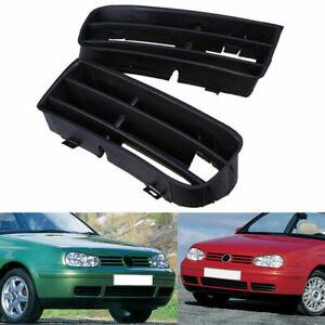 Pair Front Bumper Fog Light Lamp Cover Bezel Lower Grilles For VW Golf MK4 98-06