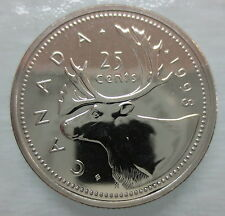1998W CANADA 25 CENTS PROOF-LIKE QUARTER COIN