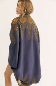 Free People Kimono Catania Embroidered Eyelet Lace Dusty Plum Gold O/S NEW