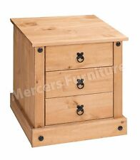 Mercers Furniture Corona Mexican Pine Budget 3 Drawer Bedside Cabinet