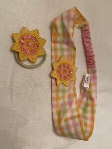 2007 Gymboree Sunflower Fields Hair Accessories Lot Flower Pony-o Headband EUC
