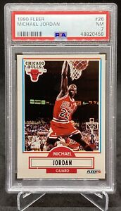 MICHAEL JORDAN 1990 Fleer NBA Basketball Card CHICAGO BULLS #26 Graded PSA 7