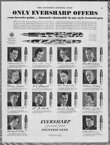 1931 WAHL EVERSHARP PEN advertisement, different fountain pen points
