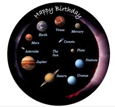 "Sistema Solar Planetas Personalizado Glaseado Comestible Cake Topper Pre-Cut 7.5"""