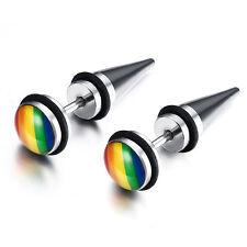 Lesbian Rainbow Stainless Steel LGBT Gay Pride Party Ear Studs Earrings 1 Pair