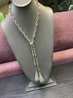 """Ladies Vintage1950's  Silver Rope Chain Bolo Adjustable 2 Tassel Necklace 30"""""""