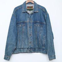Vintage Structure Jean Jacket Denim 90s Mens Large Trucker Button Blue