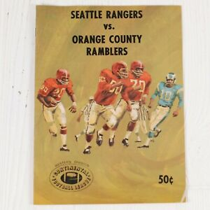 CFL Game Program 1967 Continental Football Seattle Rangers V Orange Cty Ramblers