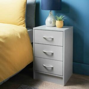 NEW Modern Grey Finish 3 Drawer Bedside Table, Bedroom Furniture, Lamp Stand