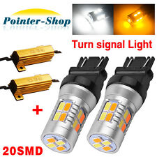 2x 3157 Dual Color Amber White 20-LED Switchback Turn Signal Lights+Resistors