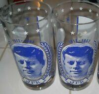 "2 JFK Vintage Memorial Drinking Glasses 1917-1963 John F Kennedy ""Ask Not What"