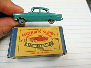 Vintage Moko Lesney Matchbox GMW No 33 Ford Zodiac & Original B2 Box