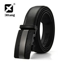 Fashion Black Belt Men's Luxury Automatic Buckle Leather Ratchet Waistband