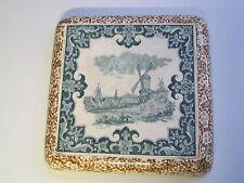 Vintage - superbe dessous de plat en faïence gravé en creux ACCOLAY , moulin
