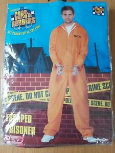 Adult Escaped Prisoner Costume Convict Inmate Mens Womens Fancy Dress Outfit