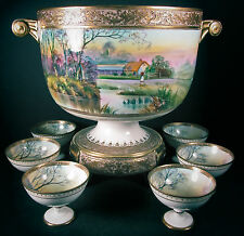 """Nippon 01 Set Punch Bowl Stand Handles 6 Cups Hand Painted Green """"M"""" Wreath"""