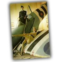 "War Photo Spitfire pinup Nice Sexy Woman Aircraft Great Britain WW2 Size 4x6"" I"