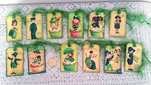 12~St Patrick's Day~Vintage~Retro~Ireland~Celtic~Linen Cardstock~Gift~Hang~Tags