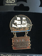 D23 Disney Treasures Exhibit Pirates of the Caribbean Ship Pin with a Dangle