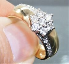 0.5CT Diamond Daisy Cluster Ring 9ct 9 Carat Yellow Gold Vintage 3.7g Size O