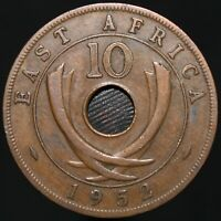 1952 H | East Africa George VI 10 Cents | Bronze | Coins | KM Coins