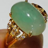 5.01 Carats Estate Vintage 14K Yellow Gold Natural Jade Diamond Ring Jewelry 887