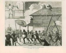 1876 antica stampa-Giappone YOKOHAMA Fire Noge Hill (10B)
