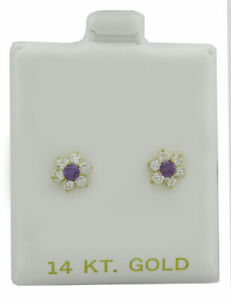 AMETHYST & WHITE SAPPHIRES STUD EARRINGS 14k YELLOW GOLD ** New With Tag **