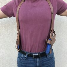 Fits Colt Kimber 45 1911 Horizontal Shoulder Holster Mag Pouch Leather