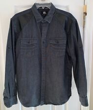 ROCK & REPUBLIC Mens Black Denim Shirt Faux Leather L