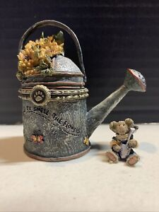 Boyds Bear Tilly's Watering Can W/ Digger McNibble Treasure Box  4015203