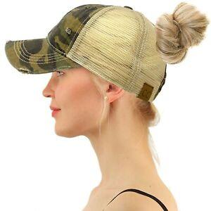 C.C Ponytail Messy Buns Ponycaps Baseball Visor Cap Dad Hat Camouflage Olive